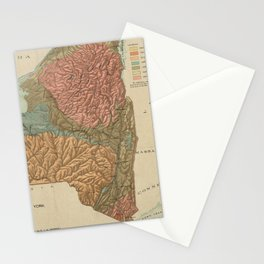 Vintage Geological Map of New York (1898) Stationery Cards
