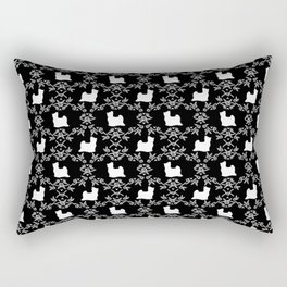 Biewer Terrier floral dog breed cute minimal pet art silhouette black and white Rectangular Pillow