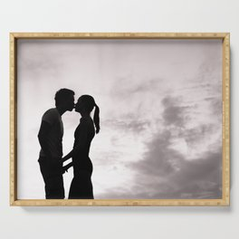 Romantic couple in love kissing Serving Tray