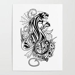 Panther - Black & White Poster