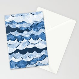 Abstract Blue Sea Waves Design Stationery Cards