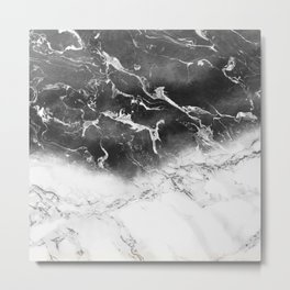 Modern black and white marble ombre watercolor color block Metal Print