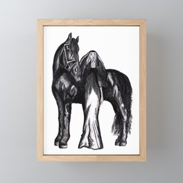 Girl with a Horse Fashion Illustration art Framed Mini Art Print