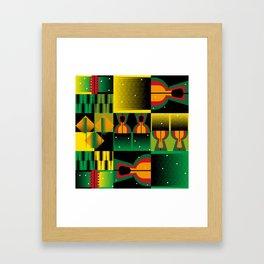 Kente Inspired Comb Illustration Framed Art Print