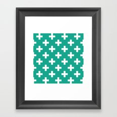 Emerald and White Plus Signs  Framed Art Print