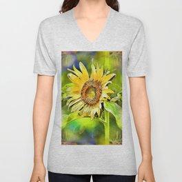 Happy Sunflower Echoes Unisex V-Neck