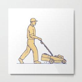 Gardener Mowing Lawnmower Drawing Metal Print