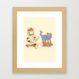 Skateboard dogs don't like roller skate cats Framed Art Print
