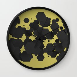Black hexagons on yellow Wall Clock