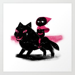 Red Wolf Riding Hood Art Print