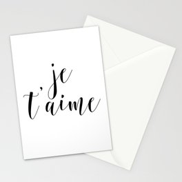 Je t'aime, Love Quote, French Quote, Inspirational Art, Anniversary Gift Stationery Cards