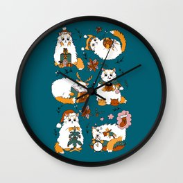 Christmas cats Wall Clock