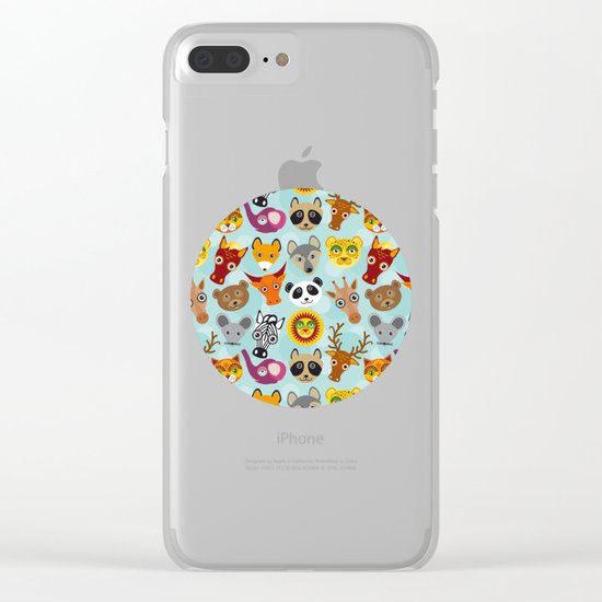 pattern with funny cute animal face on a blue background Clear iPhone Case