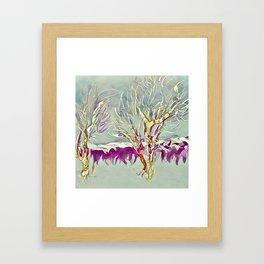 Winter Trees Purple Teal Gold Buffalo by CheyAnne Sexton Framed Art Print
