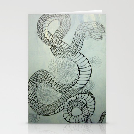 snake in the garden Stationery Cards