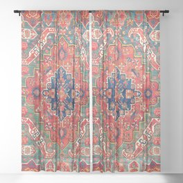 Alpan Kuba East Caucasus Rug Print Sheer Curtain