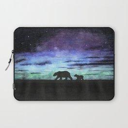 Aurora borealis and polar bears (black version) Laptop Sleeve