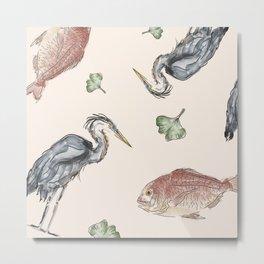 Heron and Fish Metal Print