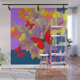 ABSTRACT RED BUTTERFLY TEAL  LILAC YELLOW FLORALS Wall Mural