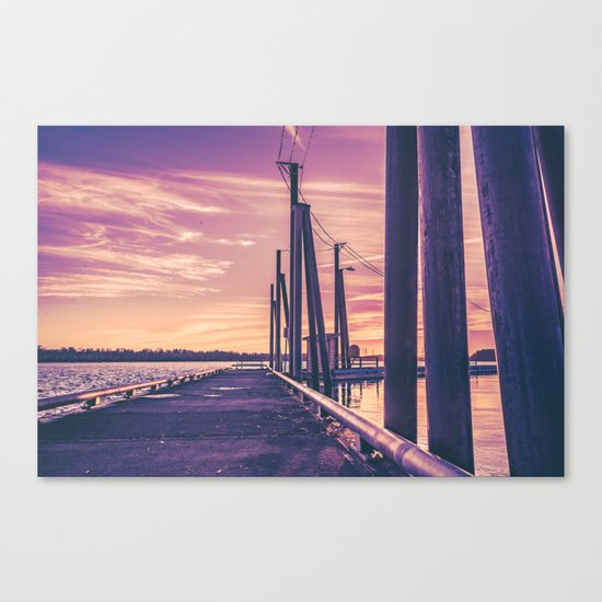 Water Sunset at the Dock Canvas Print