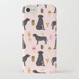 black lab ice cream dog breed pet portrait gifts for labrador retriever lovers iPhone Case