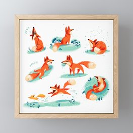 Foxy Poses Framed Mini Art Print