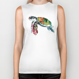 Sea Turtle Olive green, Sage green, Purple Turtle artwork Biker Tank