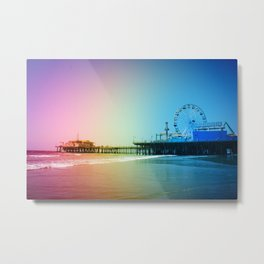 Santa Monica Pier Rainbow Colors Metal Print