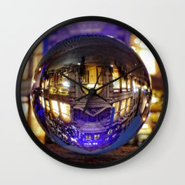 Winter scene through the crystal ball  / Glass Ball Photography Wall Clock