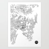 sydney Art Prints featuring SYDNEY by Maps Factory