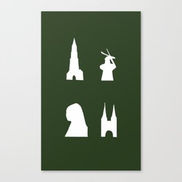 Delft silhouette on green Canvas Print