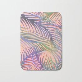 Palm Leaves Pattern - Purple, Peach, Blue Bath Mat
