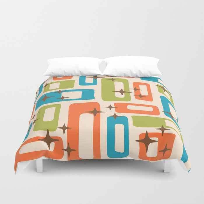 Retro Mid Century Modern Abstract Pattern 921 Orange Chartreuse Turquoise Duvet Cover