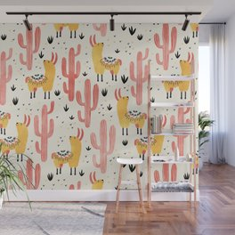 Yellow Llamas Red Cacti Wall Mural