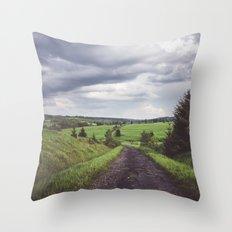 Road to nonexistent village Throw Pillow