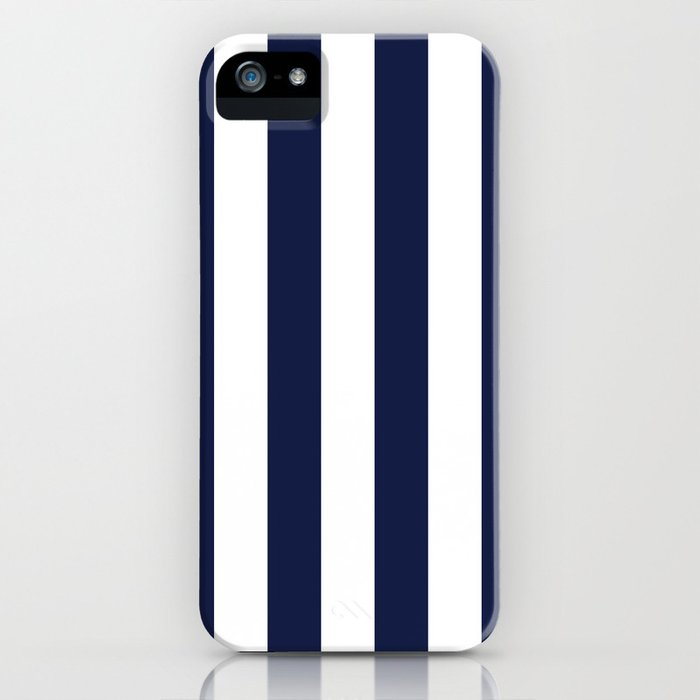 Maritime pattern- darkblue stripes on clear white - vertical iPhone Case