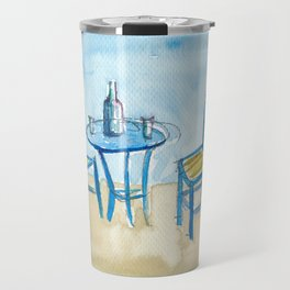 Blue Chairs Table, Sunset and Paradise Dreams Travel Mug