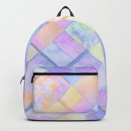 Geometric Watercolor Oranges and Blues Backpack