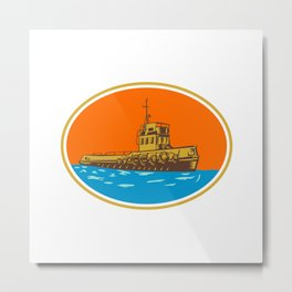 Tugboat Tug Towboat Woodcut Metal Print
