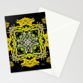 Crowning Goldenrod and Silver king Kaleidoscope Scanography Stationery Cards