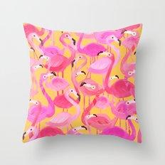 Flamingo pattern orange Throw Pillow
