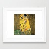 gustav klimt Framed Art Prints featuring The Kiss - Gustav Klimt by BravuraMedia