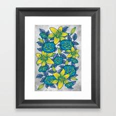 Flowers - Blue Framed Art Print