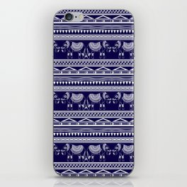 White and Navy Blue Elephant Pattern iPhone Skin
