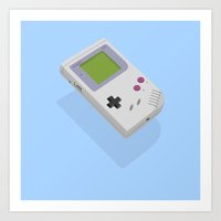 gameboy Art Prints featuring Gameboy by Mr Christer Design