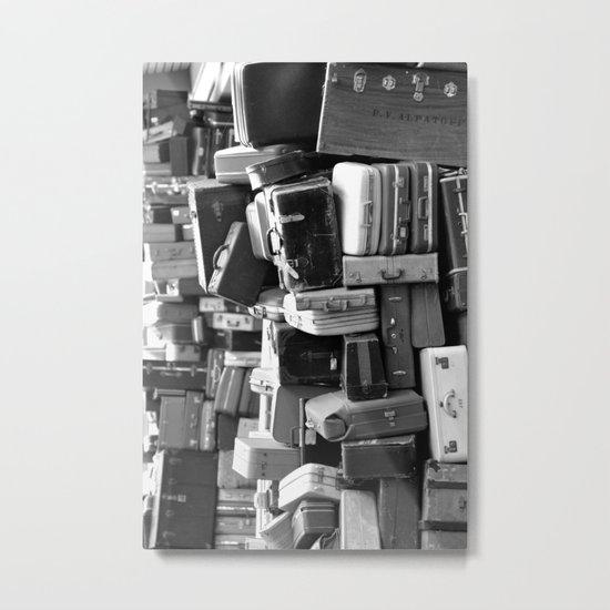TOWER OF LUGGAGE in Black & White Metal Print