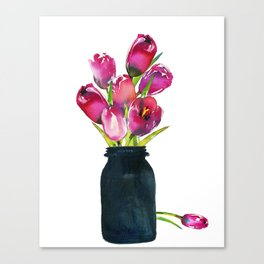 Red Tulips in Mason Jar Canvas Print
