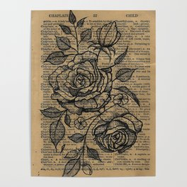 Antiqued Roses Poster
