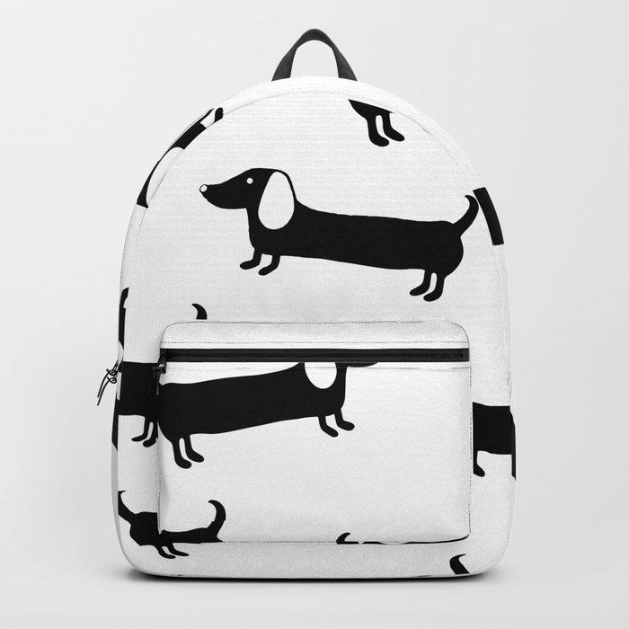Cute dachshunds in black and white Backpack