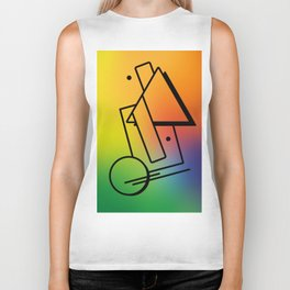 Abstract 80's Memphis Style Biker Tank